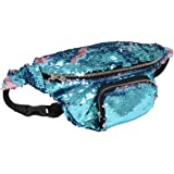 "DrCosy Unisex Mermaid Sequin Waist Pack Fanny Bag Sport Outdoor Travel Bags(14""x6"")"