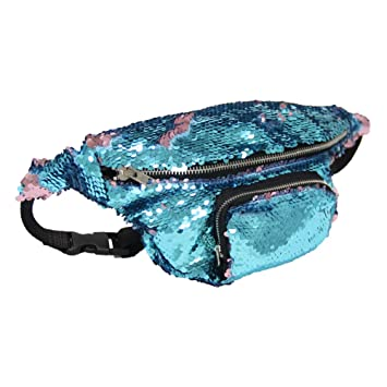 ca19beaa1976 ICOSY Unisex Glitter Mermaid Sequin Waist Pack Fanny Bag Sport Bag Outdoor  Travel Crossbody Bag(35x15cm)