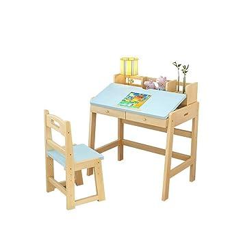 W.W Juego de Mesa y sillas de Madera para niños, Incluye ...