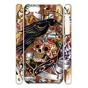 Cell phone 3D Bumper Plastic Case Of Artsy Skull For iPhone 5C