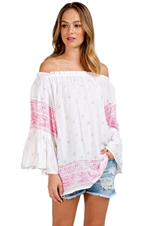 7d047951bc63 ELAN Women s Flutter Sleeve Top One Size fits All (Coral Stamped) at Amazon  Women s Clothing store