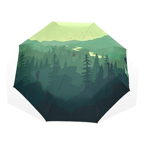 COOSUN Bosque de la montaña Y árbol personalizado plegable de Sun paraguas de la lluvia del