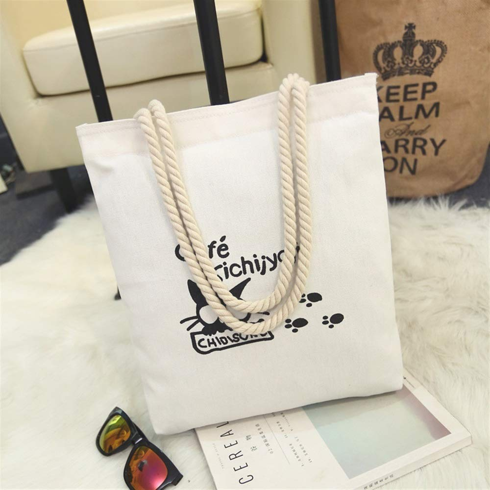 WHXYAA Cat Printed Canvas Bag Shoulder Bag Tote Bag Ladies Large-Capacity Shopping Bag White Simple Atmosphere
