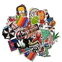 ABOEL - (Pack of 200) Random Music Film Vinyl Skateboard Guitar Travel Case Sticker Lot Pack Decals