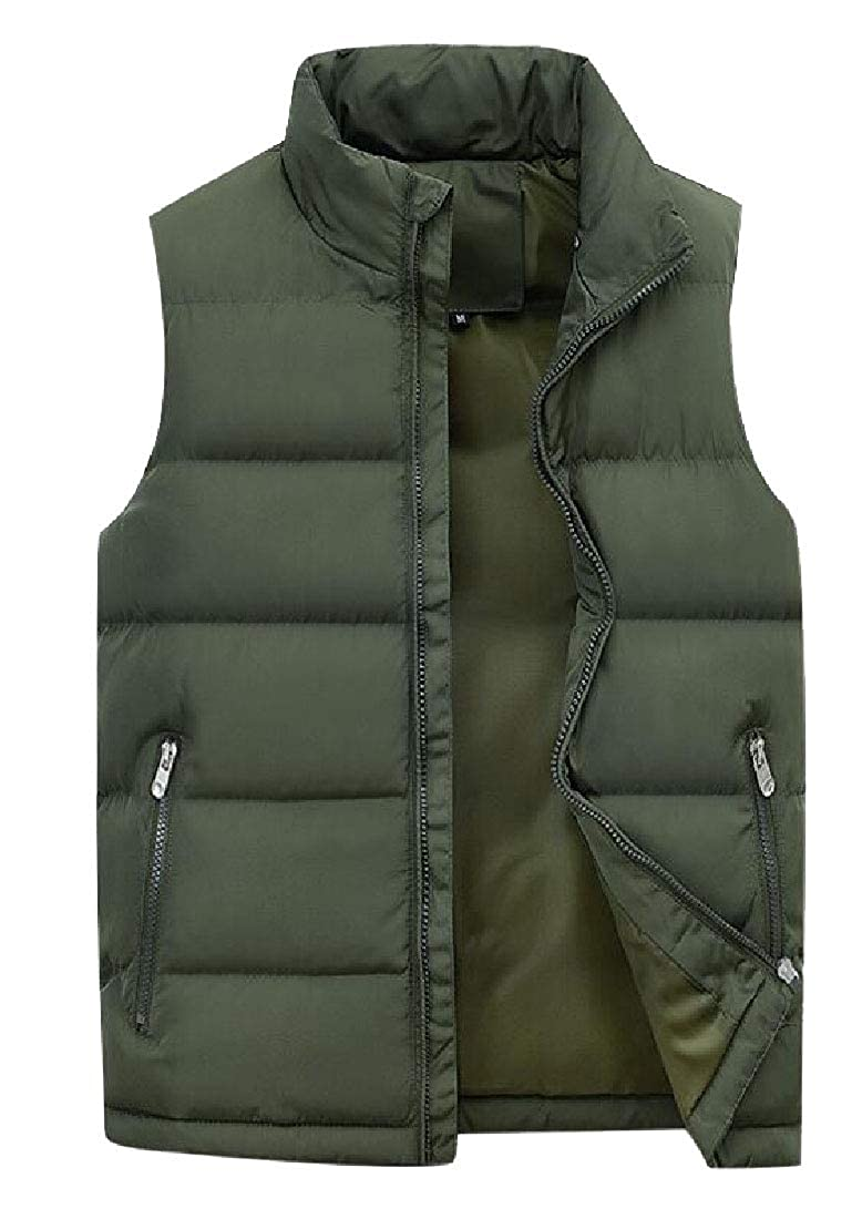 Qiangjinjiu Mens Coats Vest Peter/ Pan/ Collar Stand Down Warm Coat Sleeveless