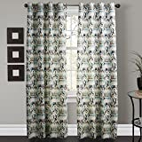 TWOPAGES-Philip-Young-Collection-Contemporary-Abstract-Gypsy-Bohemian-Style-Cold-Colors-Floral-Curtain-One-Panel-Grommet-Top