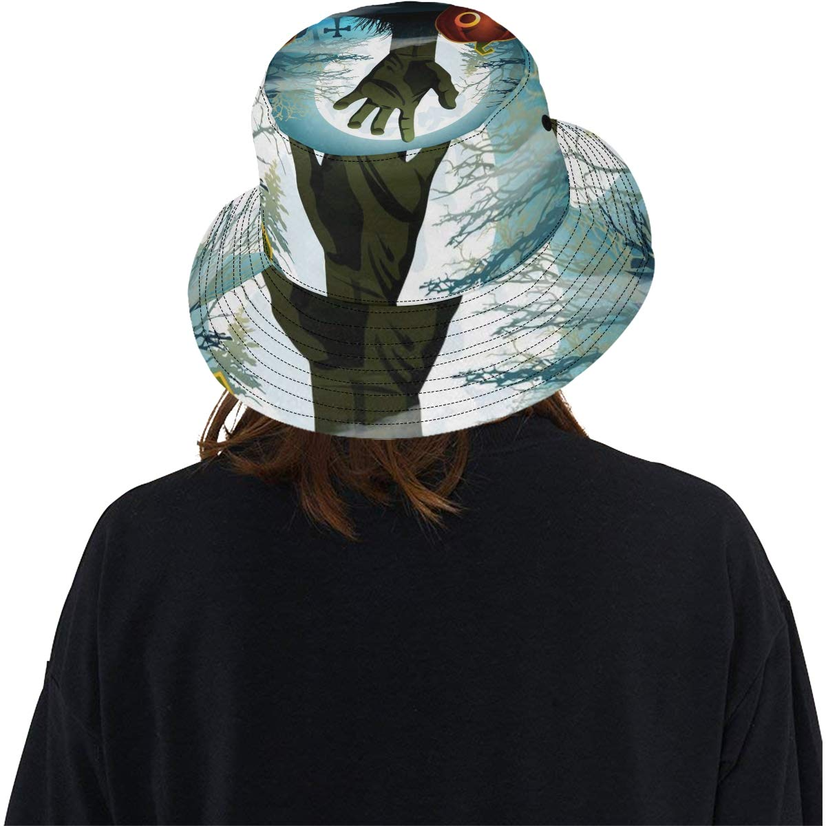 Halloween Thrilling Zombie Hand New Summer Unisex Cotton Fashion Fishing Sun Bucket Hats for Kid Teens Women and Men with Customize Top Packable Fisherman Cap for Outdoor Travel