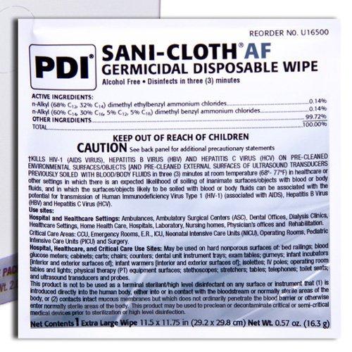 PDI U27500 Sani-Cloth AF3 Wipes, X-Large, Case, 3 Packs, 150 Wipes, 11.5'' x 11.75'', Individual Packets