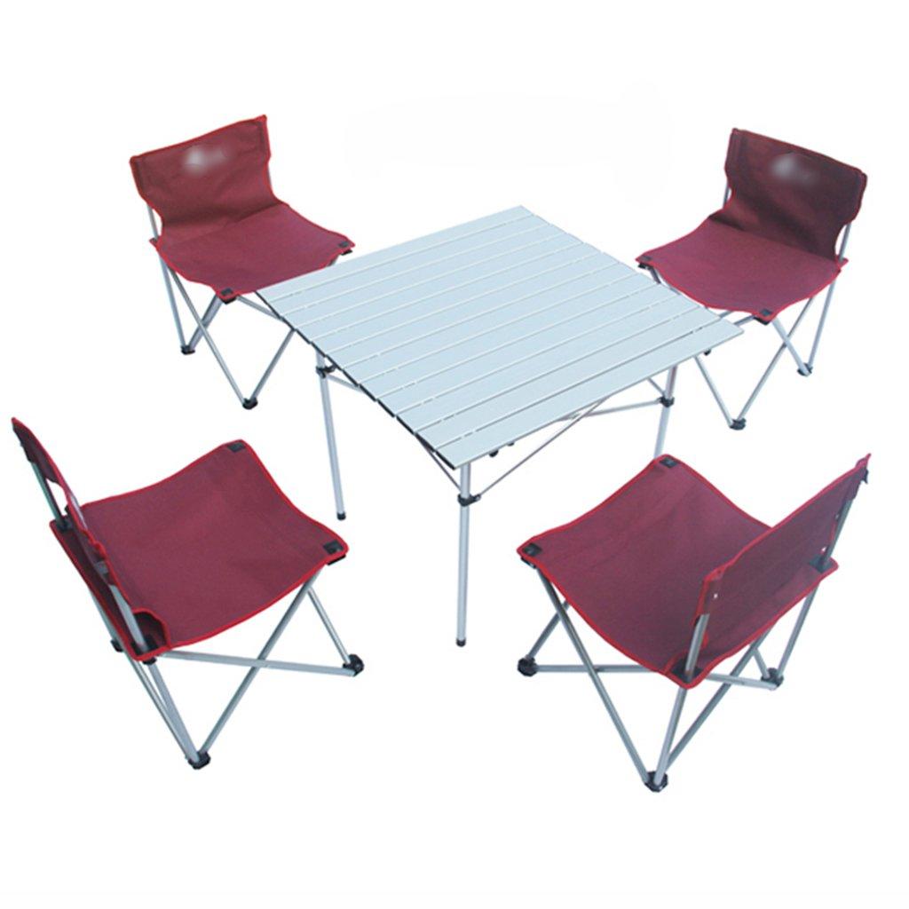 ZGL 旅行椅子 屋外折りたたみテーブルと椅子5つのセットのシンプルな折りたたみテーブルと椅子の色オプション ( 色 : 赤 ) B07C7DG5NB 赤 赤