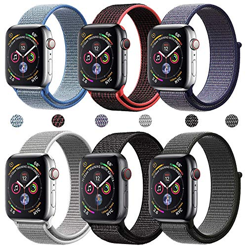 R-fun Bands Compatible with Apple Watch Band 44mm 42mm for Women and Men, Breathable Nylon Sport Loop Wristband for iWatch Series 4 Series 3 Series 2 Series 1 (Dark Color 6pcs, 42mm/44mm) ()