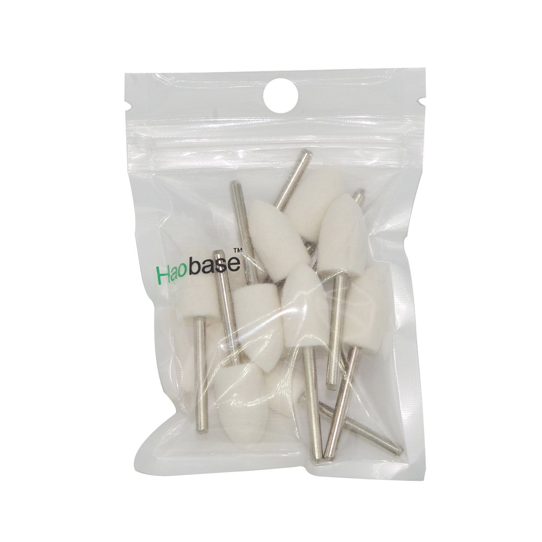Haobase 12Pcs Mandrel Mounted White Conical Felt Point Polishing Tool