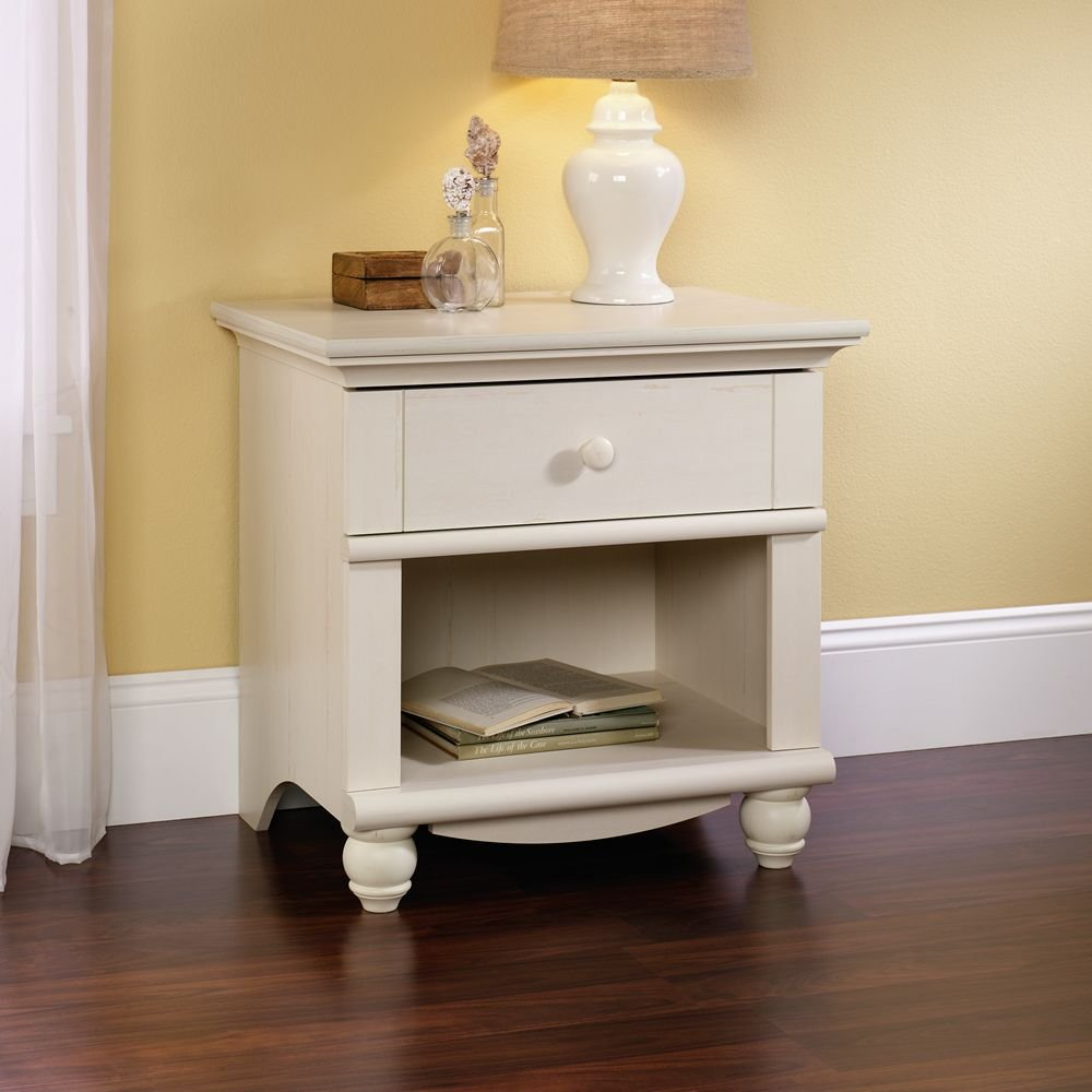 amazoncom sauder harbor view night stand antiqued white finish kitchen u0026 dining