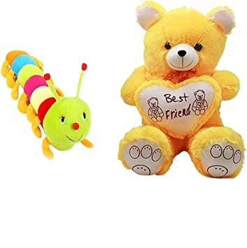 79a70c2137aef Buy HOMOKART Multicolour Plush Combo of Teddy Bear   Caterpillar Soft TOS  Online at Low Prices in India - Amazon.in