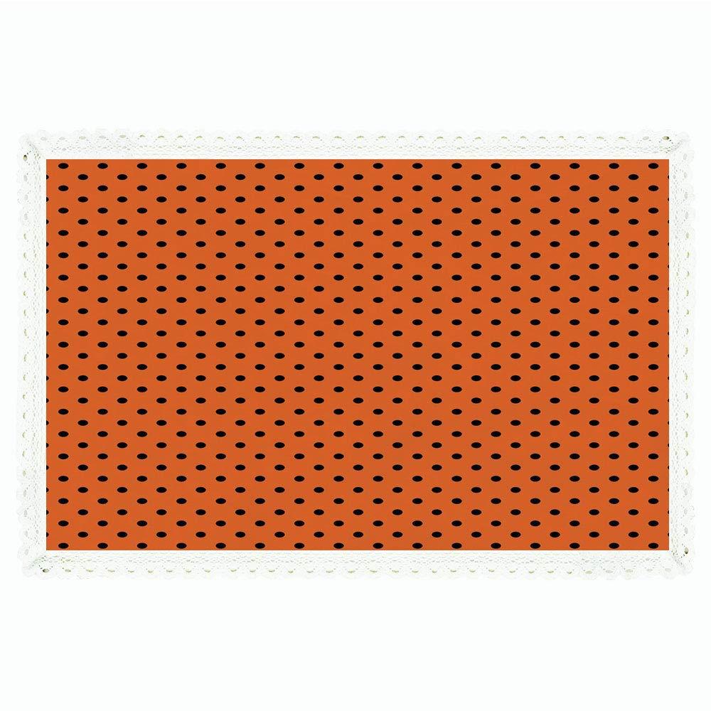 オレンジ、長方形ポリエステルリネンテーブルクロス/ストライプファイバーテクスチャイメージ 抽象的な細いラインの複雑な格子柄 ビンテージデザインプリント/ディナーキッチンホーム装飾用、55インチx72インチ、オレンジ 60