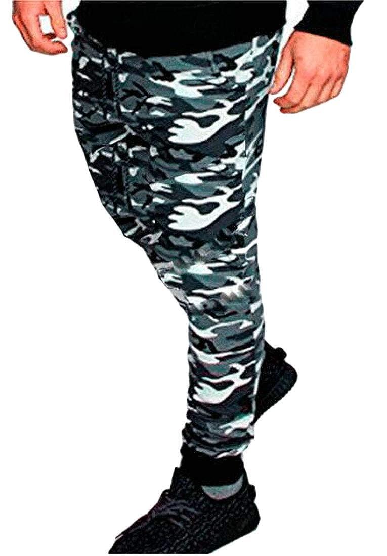 Cromoncent Mens Slim Fit Athletic Outdoor Print Camo Drawstring Jogging Pants
