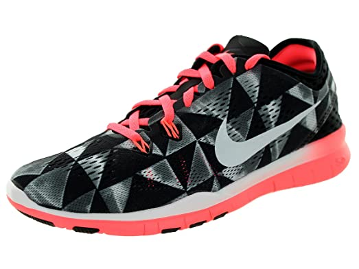 Nike Free 5.0 Tr Fit 5 Prt Womens Black/White-Lava Glow Running Sneakers