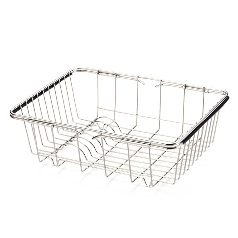 Adjustable Over the Sink Dish Drainer,Stainless Steel Dish Drying Rack Basket Holder
