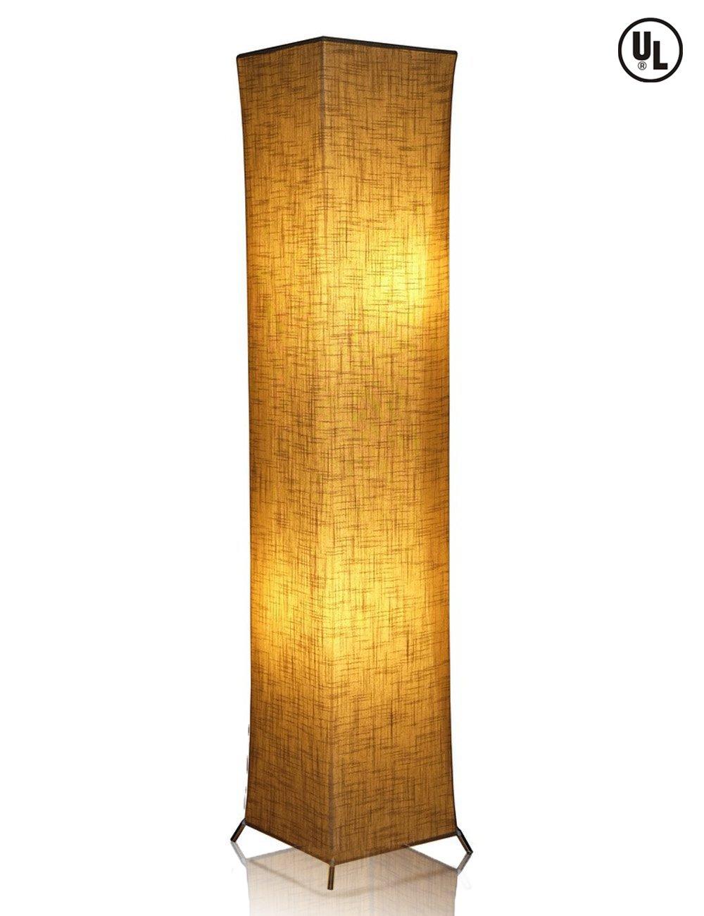 LEONC 52'' Creative Floor Lamp Softlighting Home Design Minimalist Modern Floor Lamp with Fabric Shade & 2 Bulbs for Bedroom Living room Warm Atmosphere (Size Linen Fabric: 10 x 10 x 52 inch)