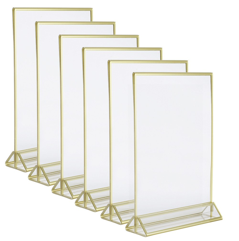 Super Star Quality Clear Acrylic Double Sided Frames Display Holder with Vertical Stand and 3mm Gold Border, 5 x 7-Inches (Pack of 6) by Super Star Quality
