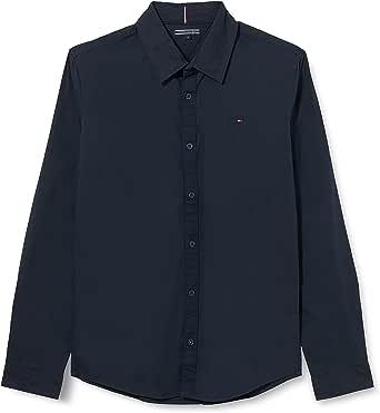 Tommy Hilfiger Boys Solid Stretch Poplin Shirt L/S Blusa para Niños