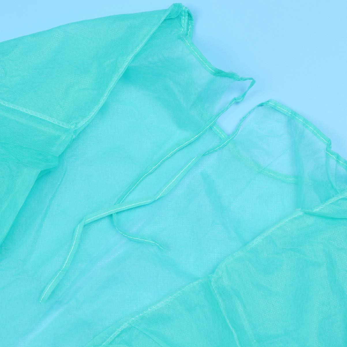 PRETYZOOM Abiti Monouso per Adulti Camici Protettivi con Maniche Lunghe Collo E Cravatte Camici da Visita Verde