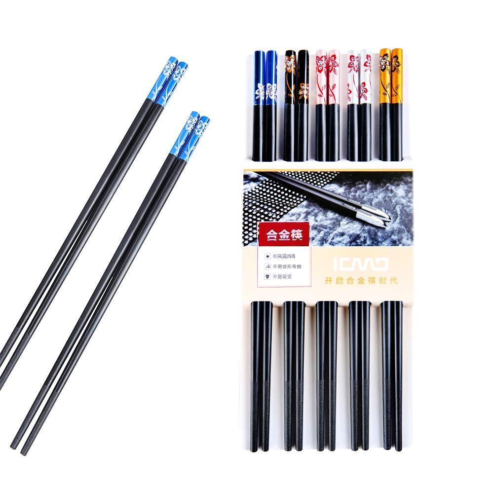 ZingLife Fiberglass Dishwasher Safe Metal Chopsticks Reusable - 5 Pairs Gift case Set Alloy Chopsticks, Non-Slip