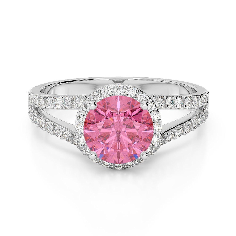 18ct White Gold G-H/VS 1 Carat Pink Tourmaline Engagement Ring AGDR ...