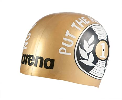 a3ce9af0ccb Buy arena 1E774-107-NS Polish 2 Molded Silicone Swim Cap, Disc Record Gold  Online at Low Prices in India - Amazon.in