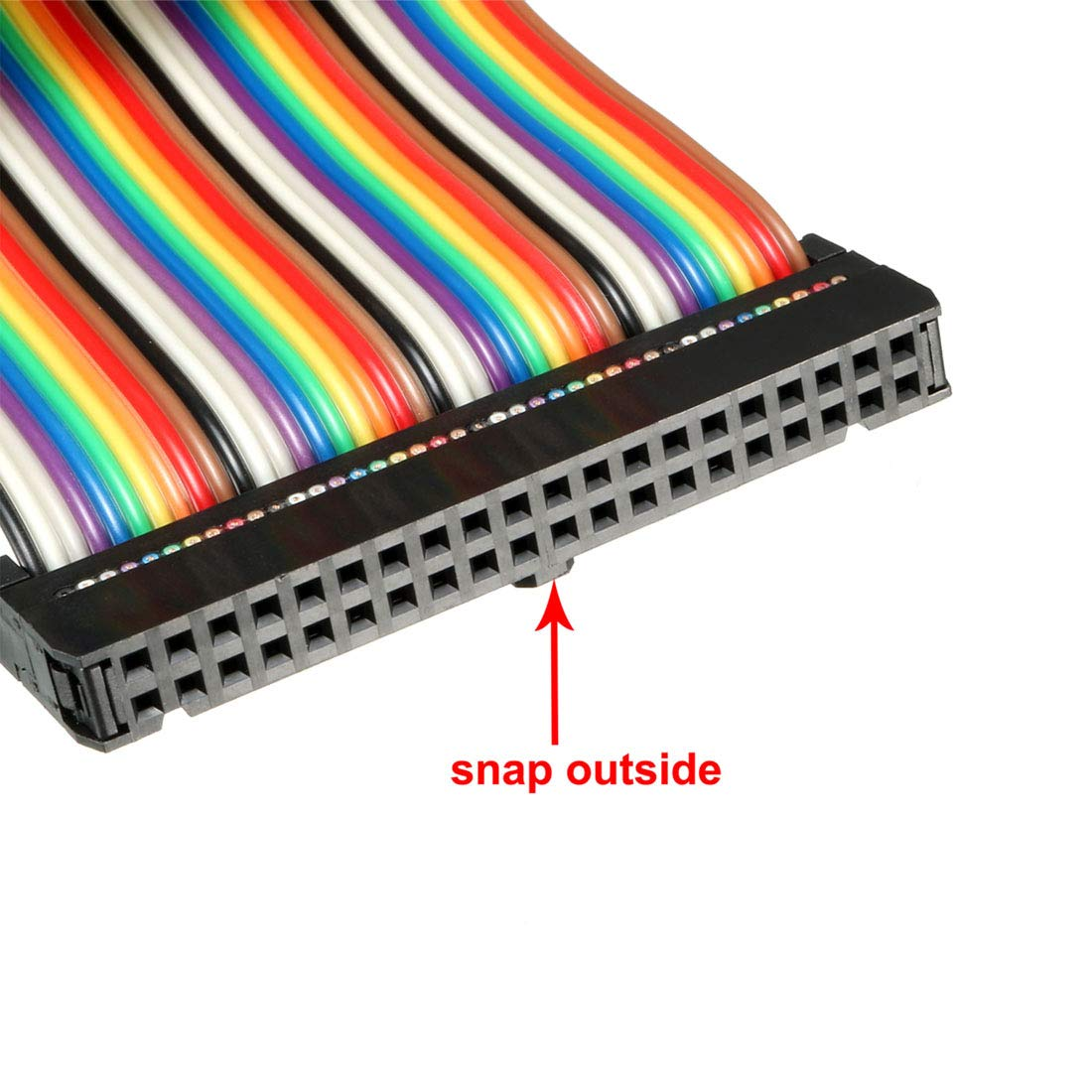 uxcell IDC 40 Pins Wire Flat Rainbow Ribbon Cable 50cm 2.54mm Pitch 1pcs