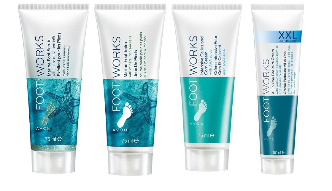 Avon Footworks Set, 4 Items including XXL 150ml Pedicure cream, Marine Foot Balm, Marine Scrub and Intensive Callus and Corm Cream Avon Cosmetics