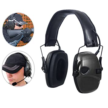 Crewell Tactical - Auriculares electrónicos plegables para deporte, tiro, caza