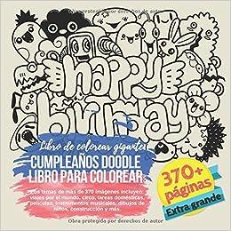 Cumpleaños Doodle libro para colorear. Libro de colorear ...