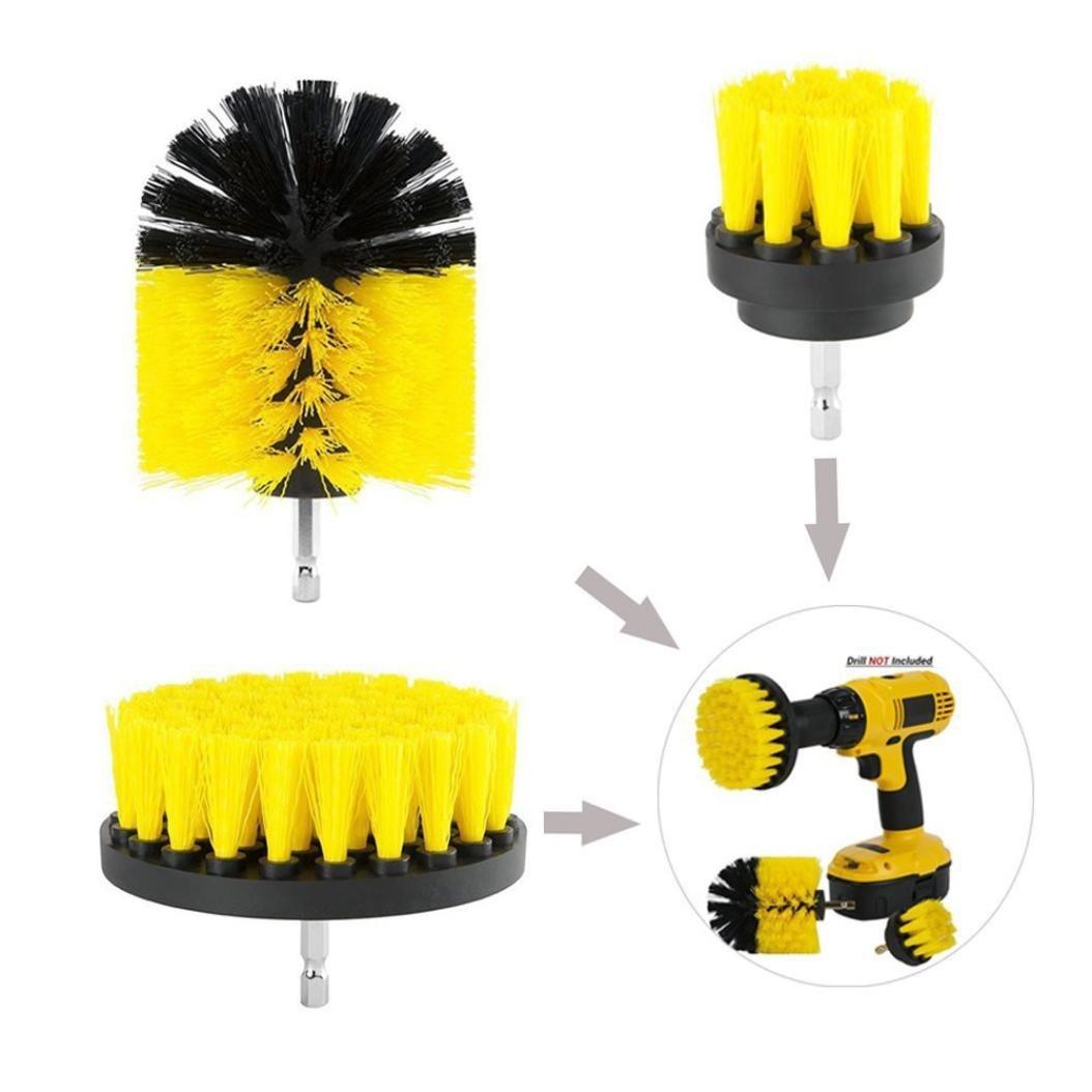 Gaddrt 3Pcs Drill Brush Kit Grout Power Scrubber Cleaning Brush Tub Cleaner Combo Tool Kit Yellow