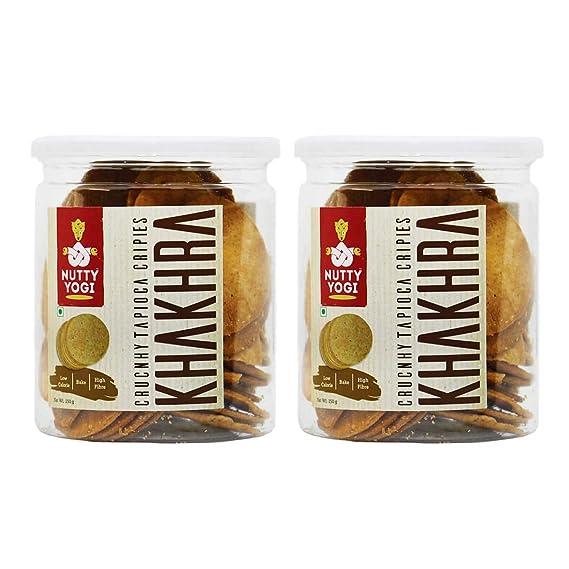 Nutty Yogi Crunchy Tapioca Crispies Khakhra Pack Of 2 Sabudana Roasted Indian Snacks Guilt Free Crunchy