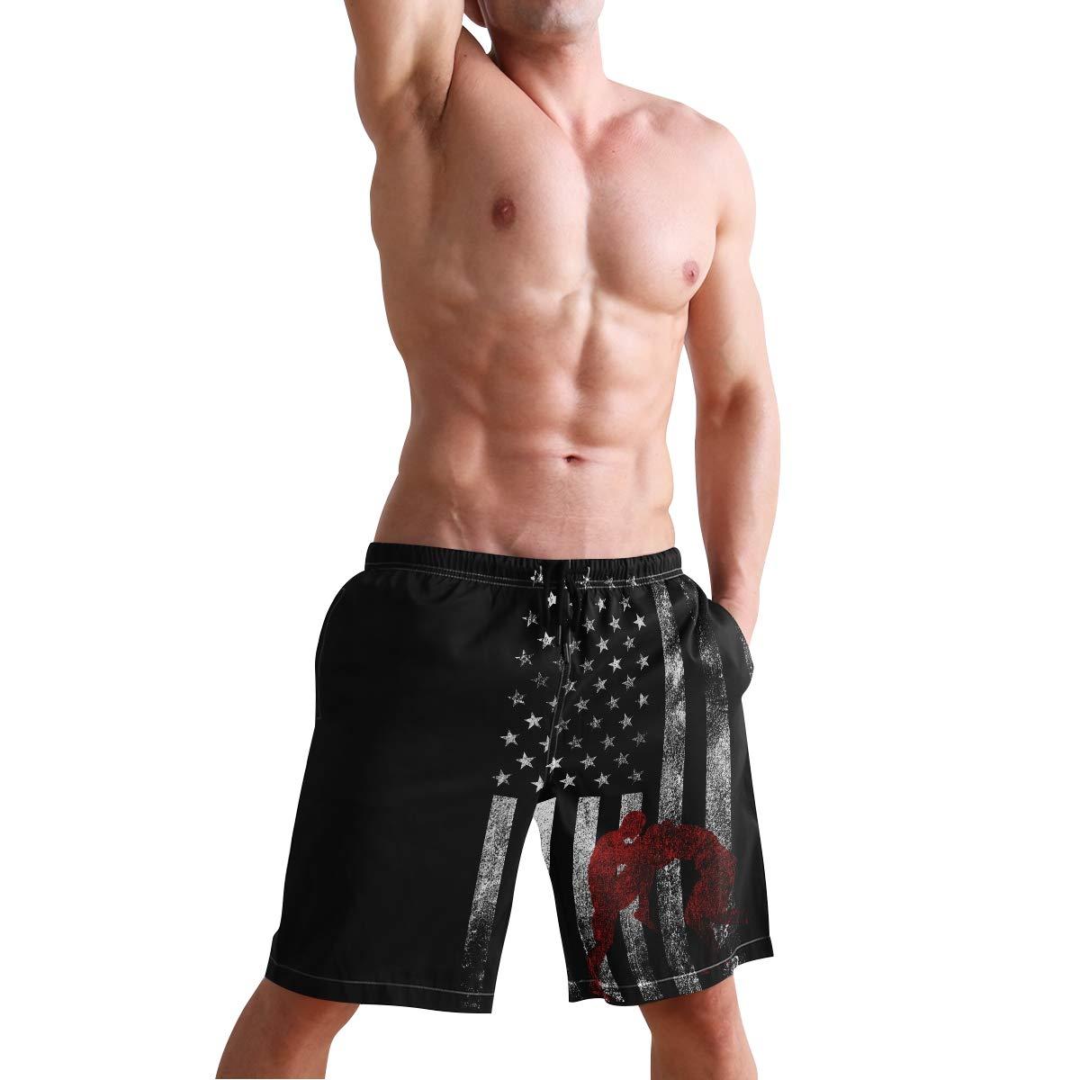 DongDongQiang Men Summer Wrestling Wrestler USA Flag Quick Dry Volleyball Beach Shorts Board Shorts
