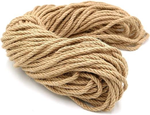Cuerda de cáñamo 6 mm, Cuerda de Yute de jardín de 50m de Grosor, Arte Artesanal, para empaquetar Regalos en el jardín: Amazon.es: Jardín
