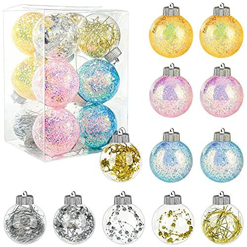 DomeStar Christmas Balls Ornaments, 12PCS 3.2 Inches Christmas Baubles Christmas Tree Decorations Tree Balls Christmas Decorations