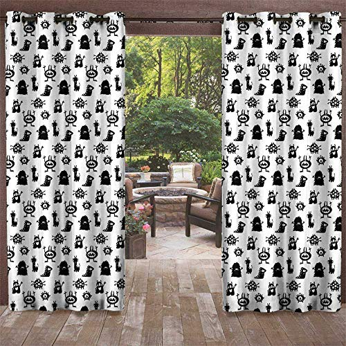 UNOSEKS LANZON DIY Courtyard Garden Curtains, Alien Monochrome Monster Silhouettes Childish Drawings of Otherworldly Beings Halloween Waterproof Curtains (Black White, 72 x 96 Inches) -
