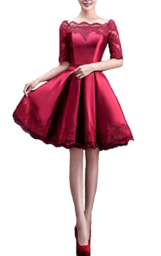 Fanhao Women's Off the Shoulders Lace Sleeves Short Evening Gown Cocktail Dress
