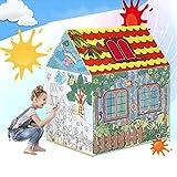 VeraCasa Washable Color Playhouse for Kids I I Children Indoor Play Tent I Bonus 8 Color Markers I Best Indoor DIY Activity for Girls