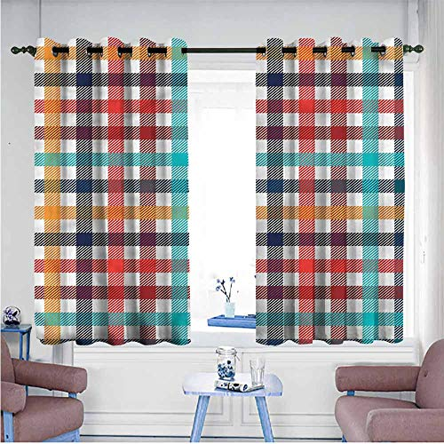 (Mdxizc Polyester Curtain Checkered Fresh Summer Gingham Durable W63 xL72 Suitable for Bedroom,Living,Room,Study, etc.)