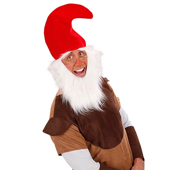 Gnome//Smurf Hat With Yellow Hair Womens Fancy Dress Accessory