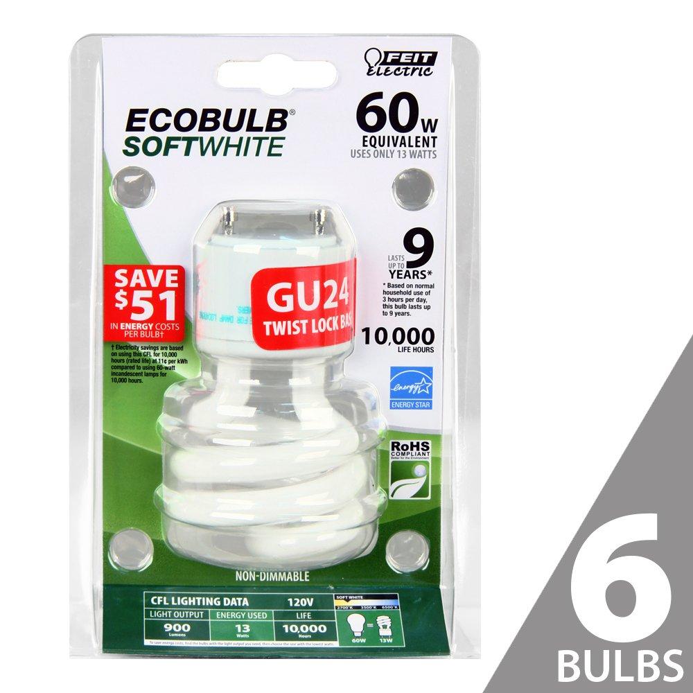 Feit BPESL13T/GU24 60W Equivalent CFL Twist GU24 Base Bulb (Pack of 6), Soft White