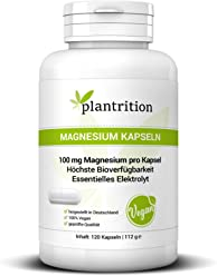 Magnesium Kapseln 100 mg elementares Magnesium pro Kapsel - Magnesium-Bisglycinat höchste Bioverfügbarkeit - Plantrition 120 Kapseln