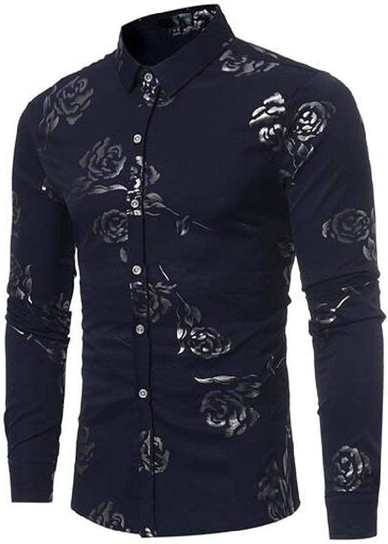 Domple Mens Vogue Button Down Print Regular Fit Long Sleeve Shirts