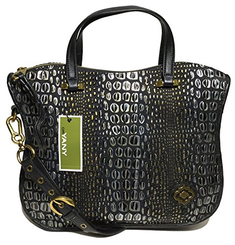 orYANY Woman's Leather Satchel, Embossed Black/Gold ()