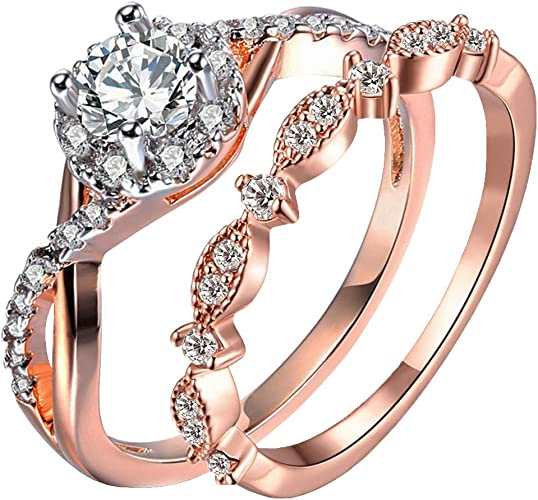 Rose Gold Plated Princess Cut Zircon Setting Bridal Cuff Bangle Bracelet