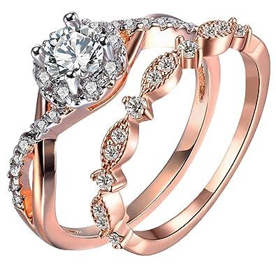 Amazon.com: TIVANI-CITY - Juego de 2 anillos de boda para ...