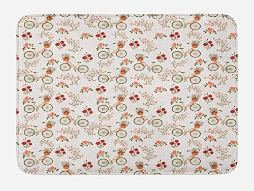 Ambesonne Floral Bath Mat, Nostalgic Romance with Bikes Baskets Full of Poppy Flowers Baskets Love Birds Spring, Plush Bathroom Decor Mat with Non Slip Backing, 29.5 W X 17.5 L Inches, Multicolor