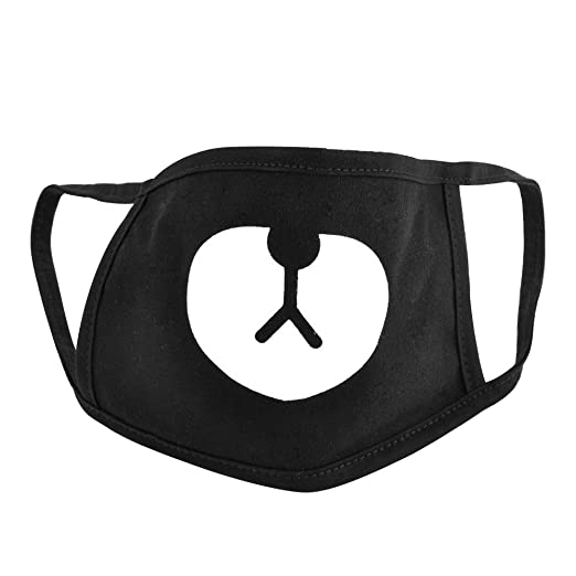 269534775 Polytree Unisex Black Cute Bear Cotton Mouth Face Mask Respirator for Cycling  Anti-Dust